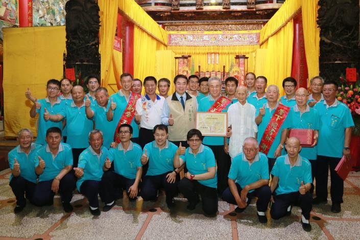 市長出席西港刈香文化季無形文化資產授證儀式合影