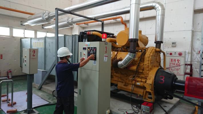 水利局進行抽水機運轉測試(圖為大灣抽水站)