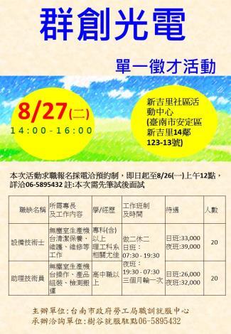 8/27(二)樹谷就服據點辦理「群創光電股份有限公司」單一徵才活動,歡迎求職民眾踴躍參加!