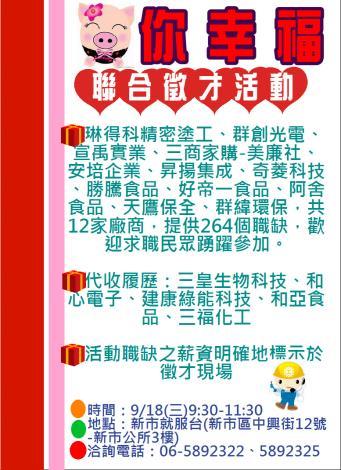 108/9/18臺南市政府勞工局職訓就服中心新市就服台聯合徵才活動