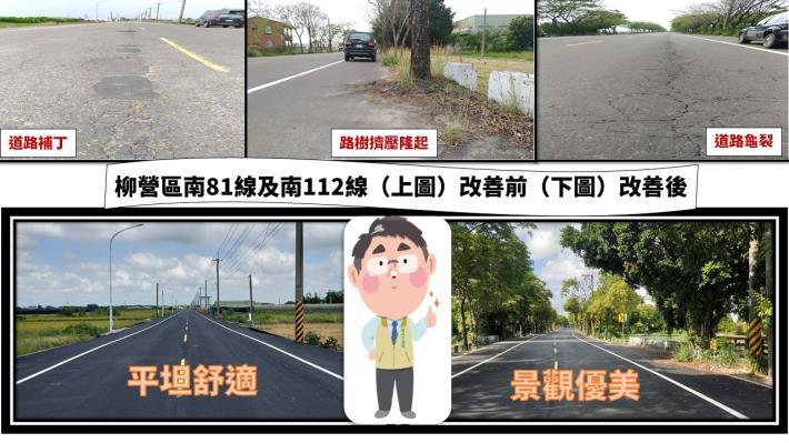 柳營區南81線及南112線完成道路改善Q版黃市長