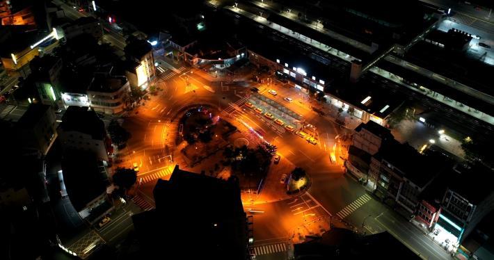 新營站前圓環空拍夜景