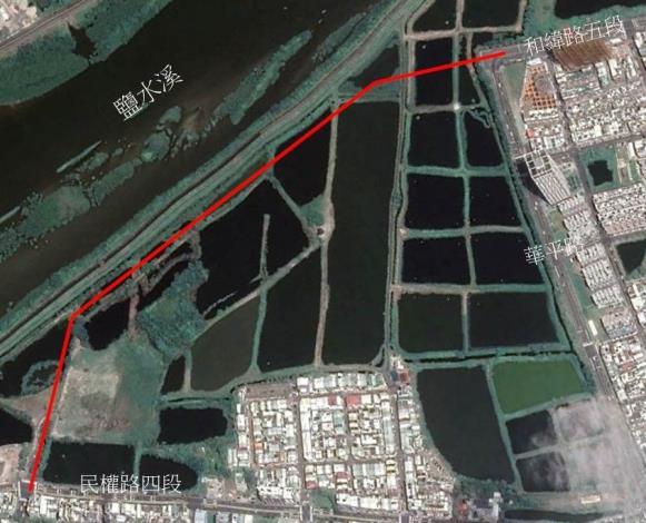 市府開闢和緯路五段延伸道路-衛星圖
