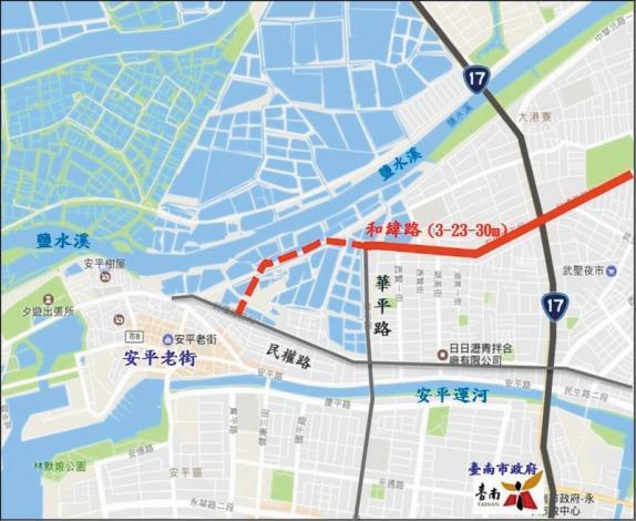 GOOGLE地圖_市府開闢和緯路五段延伸道路