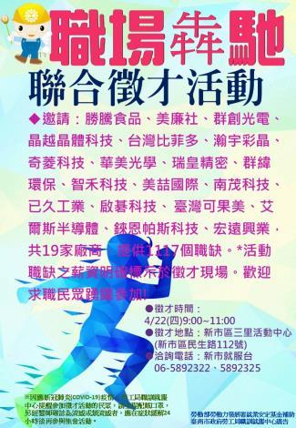 110/4/22臺南市政府勞工局職訓就服中心新市就服台 聯合徵才活動