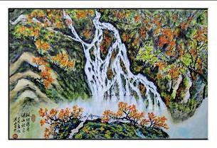 洪靈水墨畫個展-民治市政中心-22-楓紅瀑景-山水