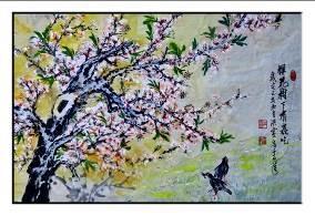 洪靈水墨畫個展-民治市政中心-24-櫻花樹下有蟲吃-櫻花