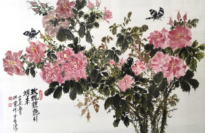 洪靈水墨畫個展-民治市政中心-09-玫瑰競艷引蝶來-花鳥
