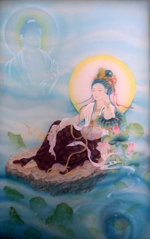 張德怡佛畫師生聯展-08-蓮臥觀音