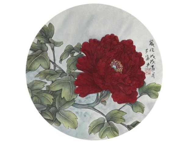 王姿尹書畫師生聯展03-王姿尹-晴霞一縷紅