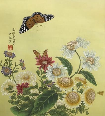 王姿尹書畫師生聯展29-卓鈺真-菊叢飛蝶