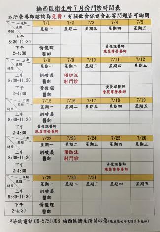 7月門診表