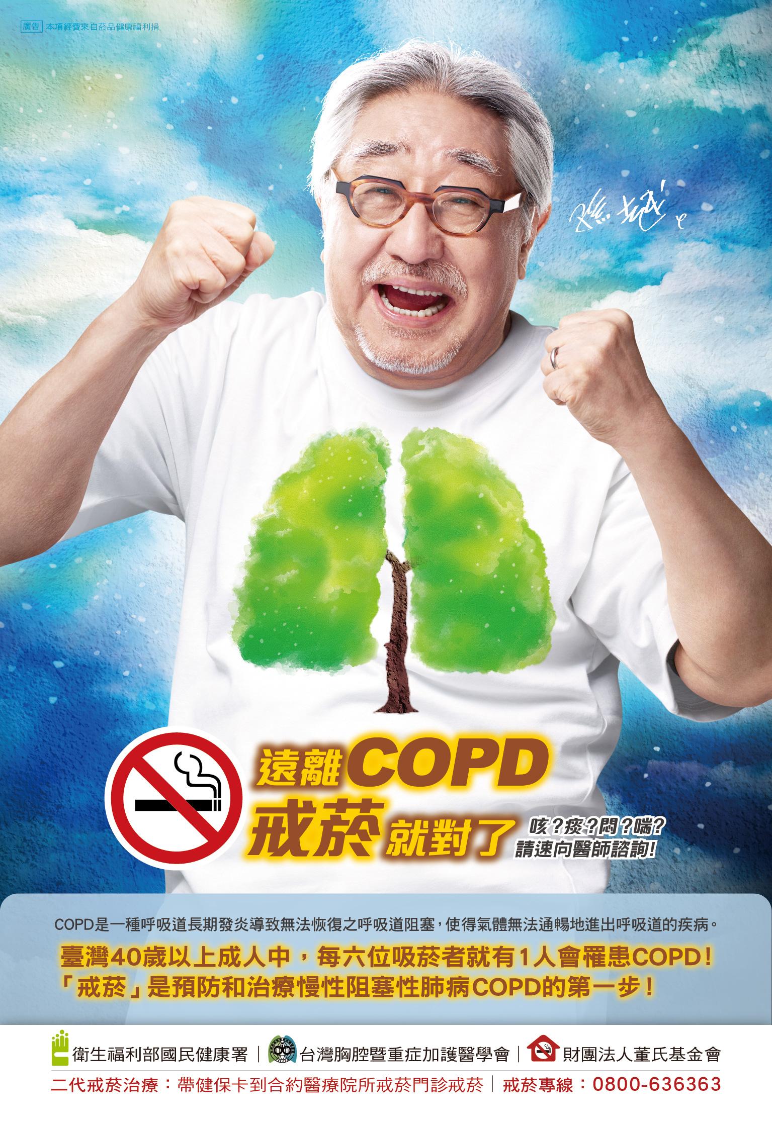 遠離COPD,戒菸就對了! COPD是一種呼吸到長期發炎導致無法恢復支呼吸道阻塞,使得氣體無法通暢地進出呼吸道得疾病。台灣40以上成人中,每六位吸菸者就有一人會罹患COPD!【戒菸】是預防及治療慢性阻塞性肺病COPD的第一步!