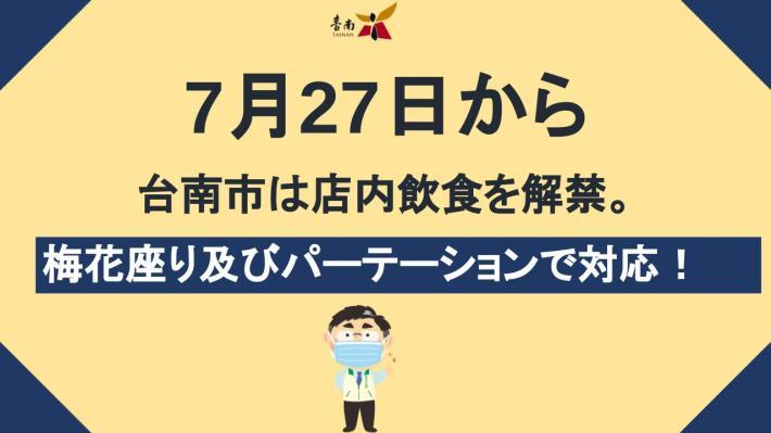 JP20210724台南727起開放餐飲內用 採梅花座且使用隔板.pptx