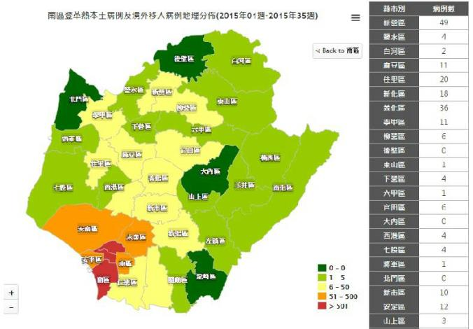 台南市登革熱疫情地圖