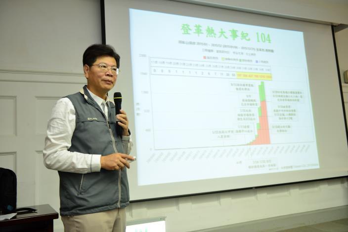 衛生局林局長向在座的專家學者們報告台南登革熱防治相關作為