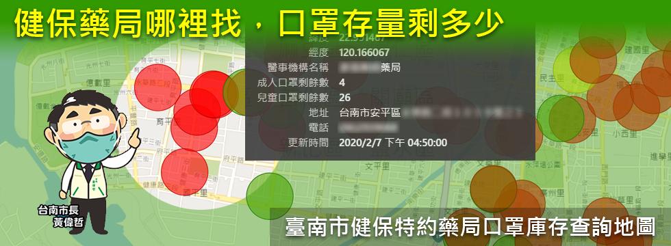 臺南市健保特約藥局口罩庫存查詢地圖