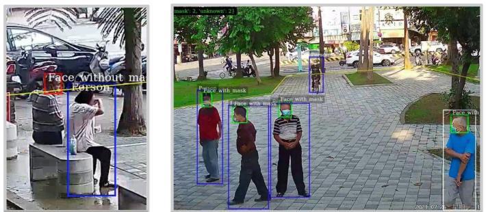 社交距離與口罩偵測AI應用示意圖