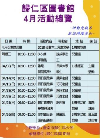 歸仁區圖4月活動總覽