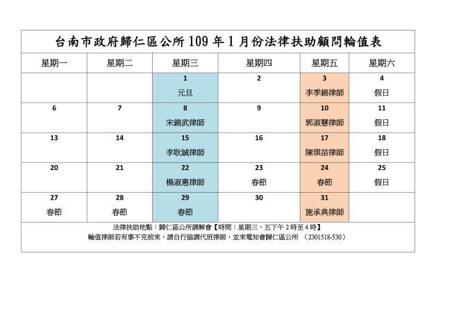 台南市政府歸仁區公所109年1月份法律扶助顧問輪值表