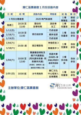 歸仁區圖書館1月份活動內容總覽