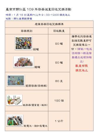 臺南市歸仁區109年容器減量回收兌換活動