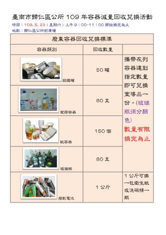 臺南市歸仁區公所109年5月容器減量回收兌換活動