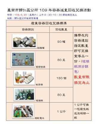 臺南市歸仁區公所109年6月容器減量回收兌換活動