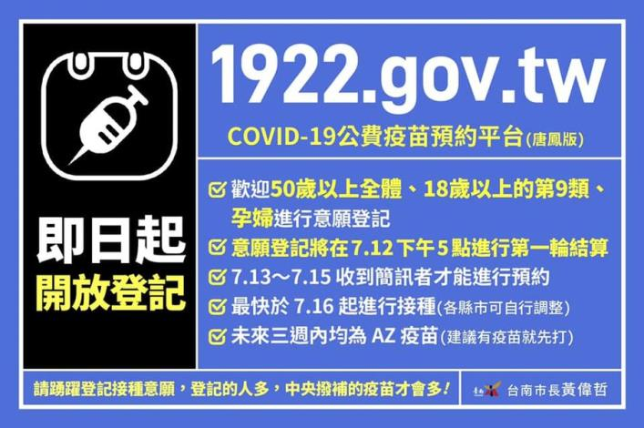 第一步:請您先上1922.gov.tw,選擇 #意願登記。_n