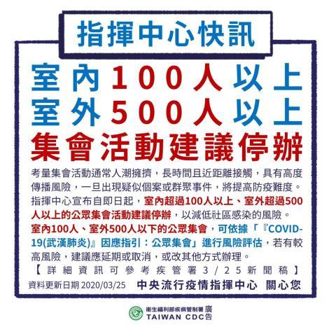 指揮中心快訊,室內超過100人,室外超過500人以上的活動建議停辦。