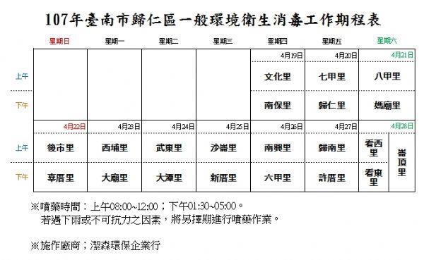 一般衛生清潔消毒工作期程表