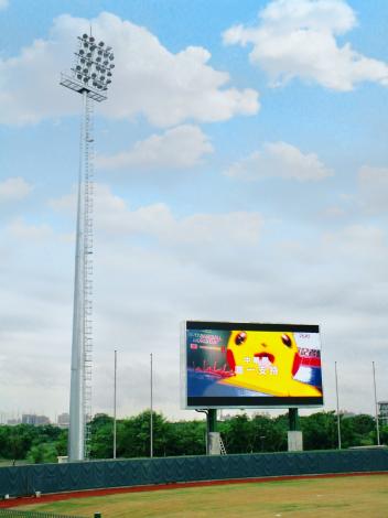 臺南亞太國際棒球訓練中心-少棒球場內外野LED看板(有寶可夢圖片)