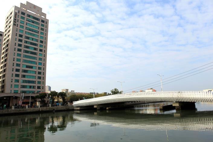 藍天白雲與橋相對應
