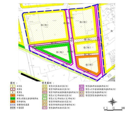 「變更山上都市計畫(第四次通盤檢討)案」市地重劃示意圖