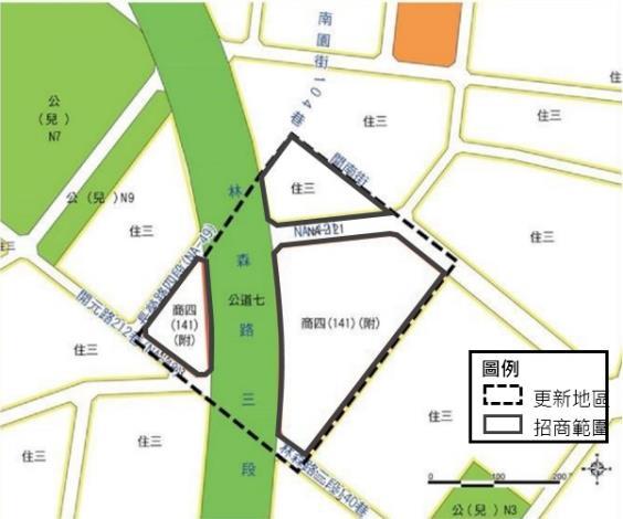 圖2 北區自強新村招商範圍區位示意圖