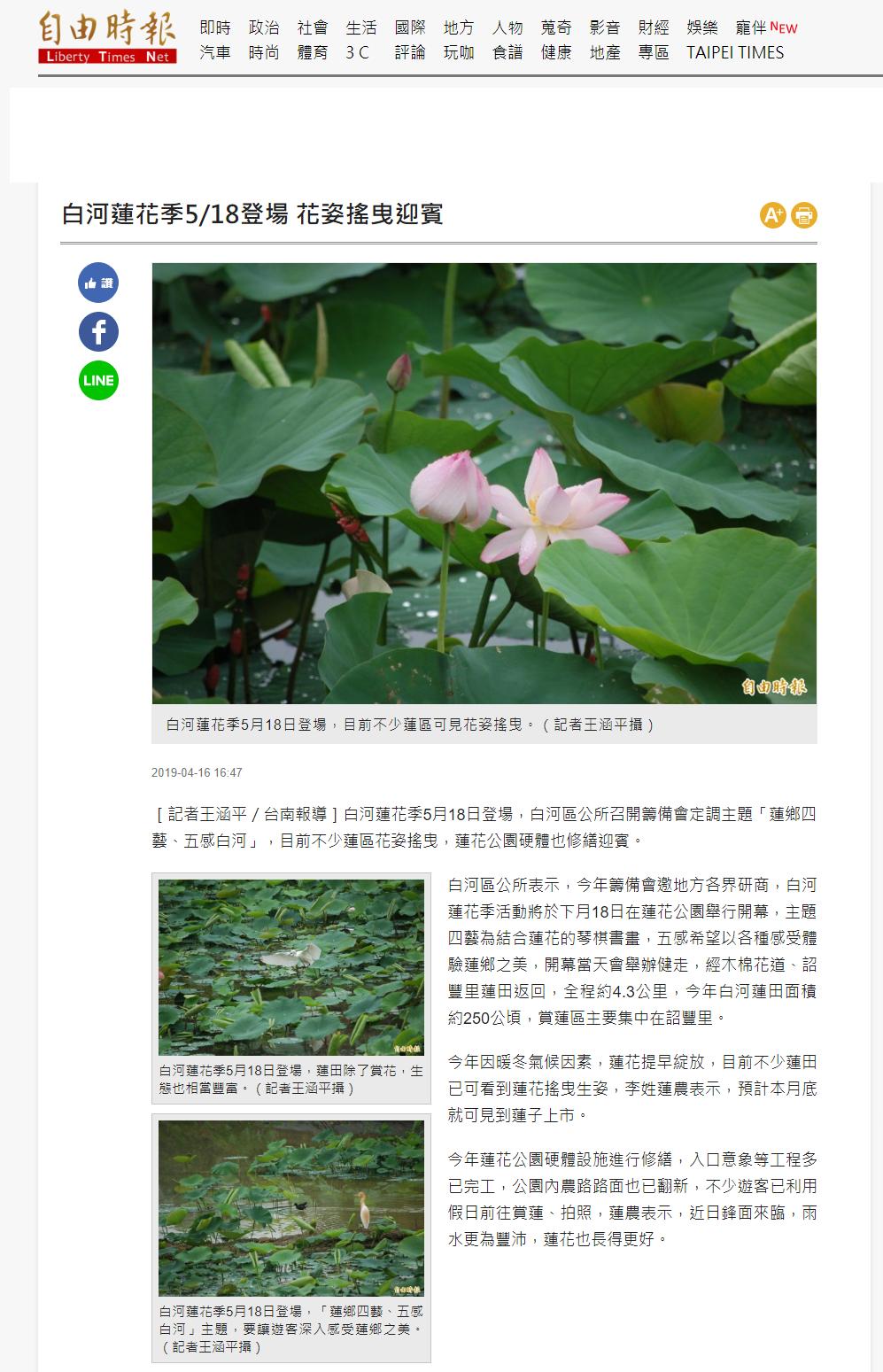 白河蓮花季5月18登場-自由時報