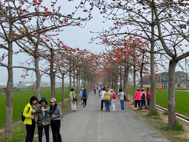 黃市長偉哲與董區長麗華提醒民眾配合肺炎防疫,大家外出賞花時一定要戴好口罩