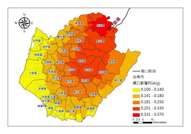 台南市-觸口地震事件-PGA圖片