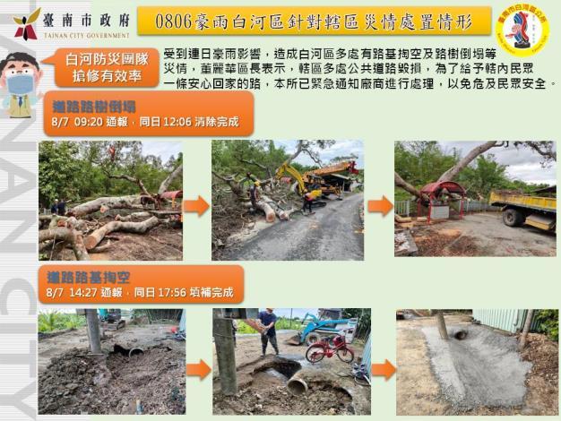 0809-0806豪雨白河區針對災情處置情形(家名提供)