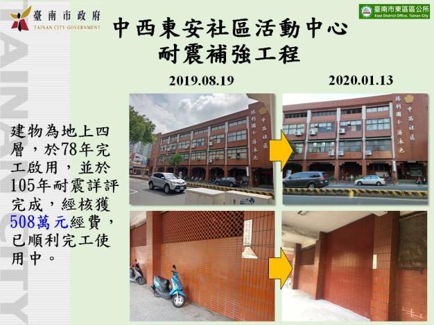 中西東安社區活動中心耐震補強工程