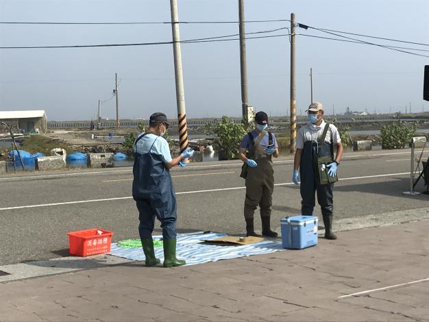 圖三、特有生物研究保育中心七股站模擬派三名巡守員作疫病搶救