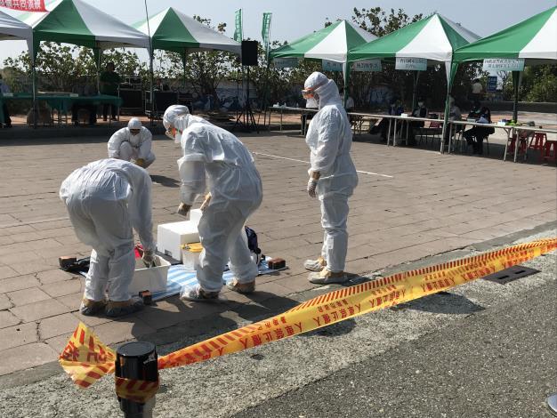 圖二、台南市動物防疫保護處模擬進行區域管制狀況演練