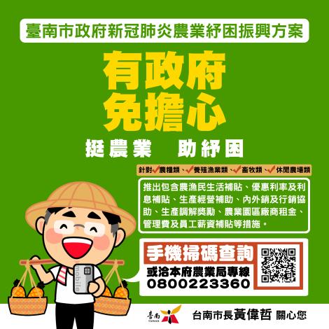 臺南市政府新冠肺炎農業紓困振興方案圖卡(1090507)