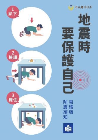 抗震保命三步驟(內政部消防署)