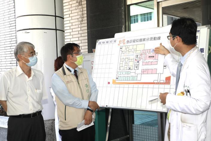 黃偉哲視察部立台南醫院,呼籲醫療院所及營業場所加強防疫落實稽查處罰(共5張)-2
