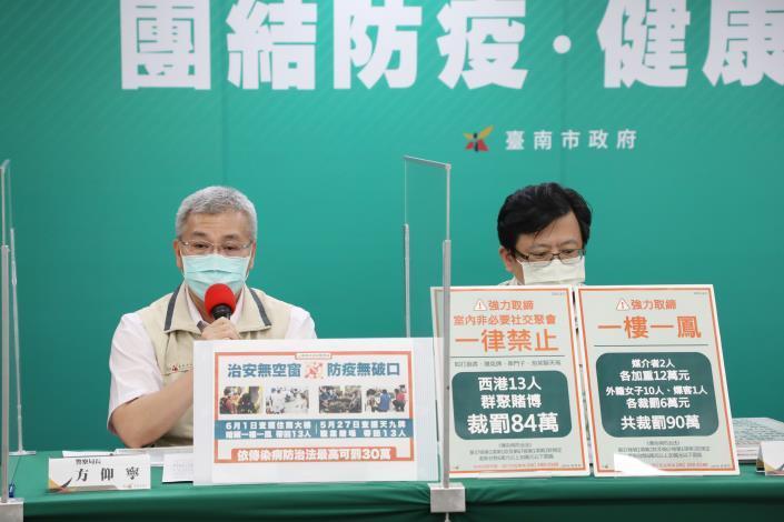黃偉哲報告台南新增2例個案資訊 同時開罰西港群聚賭博84萬及性交易90萬(共4張)-3