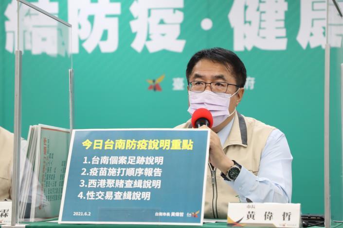 黃偉哲報告台南新增2例個案資訊 同時開罰西港群聚賭博84萬及性交易90萬(共4張)-1
