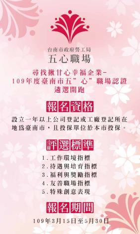台南市五心職場自3月15日起開始收件,歡迎踴躍參加