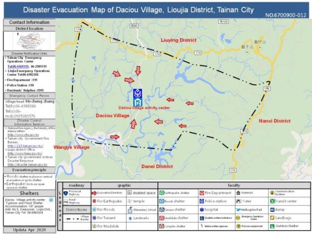 Disaster Evacuation Map of Daciou Village