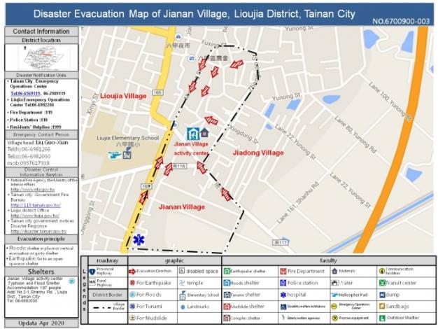 Disaster Evacuation Map of Jianan Village